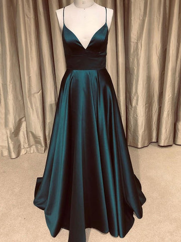 Satin Backless Dark Green A Line V Neck  Long Prom Dress