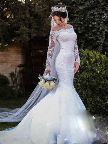 Trumpet/Mermaid Tulle Lace Off-the-Shoulder Long Sleeves Wedding Dress