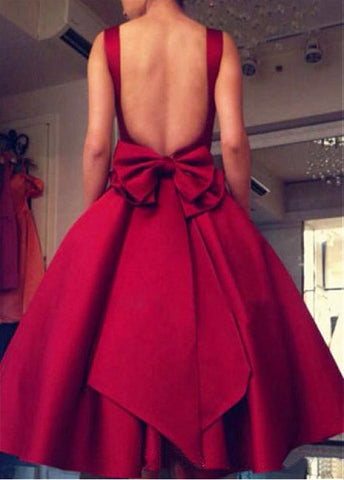 Graceful Satin Square Neckline Tea-length Ball Gown Homecoming Dresses With Bowknot