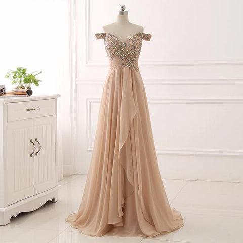 Princess Beading Champagne Prom Dress