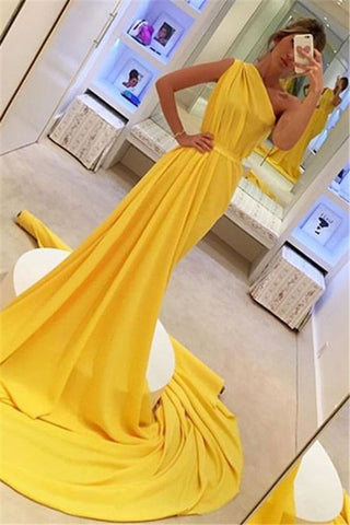 Sleeveless Chiffon Yellow One Shoulder Long Prom Dress