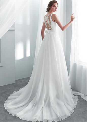 Elegant Organza & Satin Bateau Long A-line Wedding Dresses