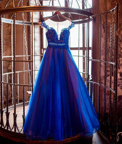 Elegant Blue Round Neck Tulle Long Formal Prom Dress