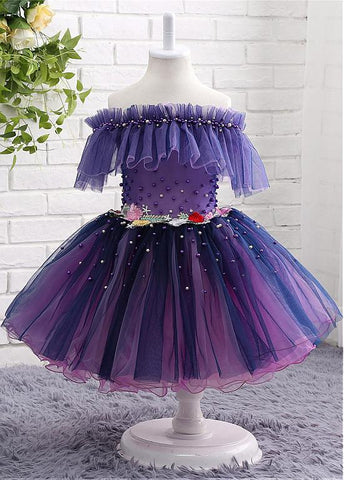 Popular Tulle Off-the-shoulder Neckline Ball Gown Flower Girl Dresses With Beadings & Handmade Flowers