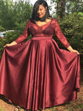3/4 Sleeves Applique Burgundy Satin Plus Size Prom Dress
