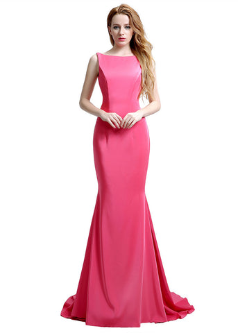 Wonderful Silk Satin Bateau Neckline Exposed Back Floor-length Mermaid Evening Dresses