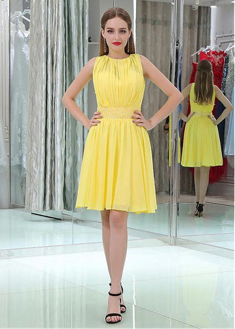 Chiffon Jewel Neckline Short Length A-line Homecoming Dresses With Beadings