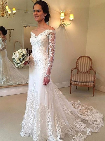 Off the Shoulder Long Sleeves Lace Wedding Dress