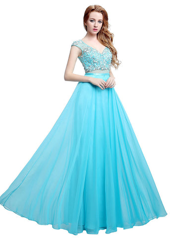 Graceful Chiffon & Tulle V-neck Neckline See-through A-line Prom Dresses With Beadings