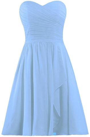 Light Blue Short Bridesmaid Dresses Chiffon Wedding Party Dress