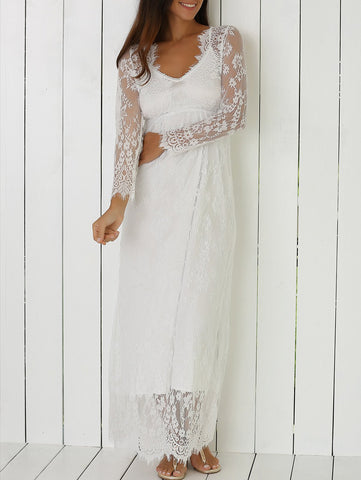 White See-Through Lace Dress With Sleeves