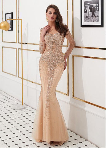 Tulle V-neck Beading Champagne Mermaid Evening Dress