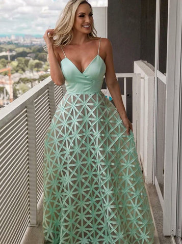 Spaghetti Straps Mint Long Satin Prom Evening Party Dress