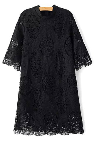 Black Openwork Stand Collar 3/4 Sleeve Lace Dress