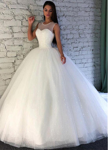 Elegant Sequin Tulle Jewel Beading Ball Gown Wedding Dress