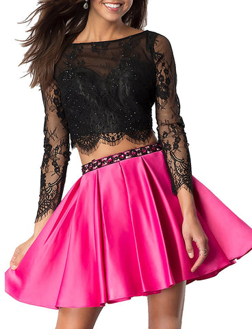 Floral Long Sleeves Short Prom Dress
