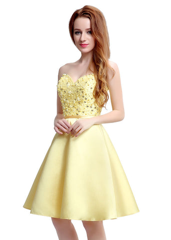 Yellow Homecoming Dress With Beadings