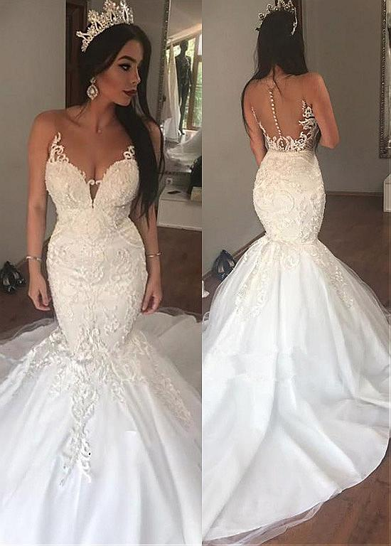 af4d309681a8 Tulle Sheer Jewel Lace Appliques Mermaid Wedding Dress