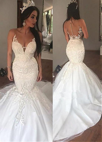 Tulle Sheer Jewel Lace Appliques Mermaid Wedding Dress