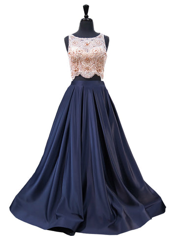Navy Unique Beading Sparkle Two Piece Prom Dress