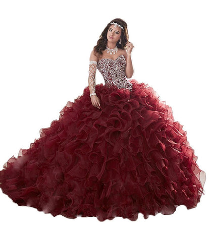 Beaded Organza Quinceanera Dresses for Sweet 16 Ball Gowns