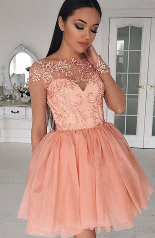 Pink Short Homecoming Dress With Lace