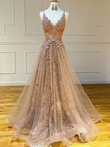 Champagne A Line V Neck Sparkle Lace Long Prom Dress
