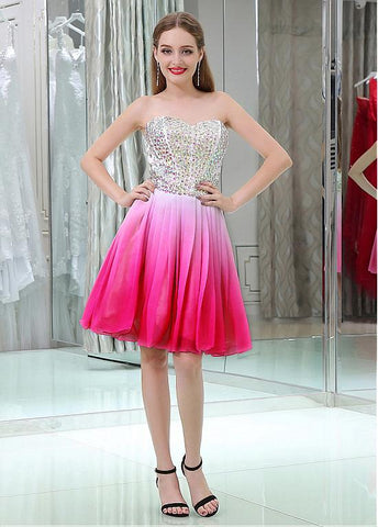 Chiffon Sweetheart Neckline Short Length A-line Cocktail Dresses With Beadings