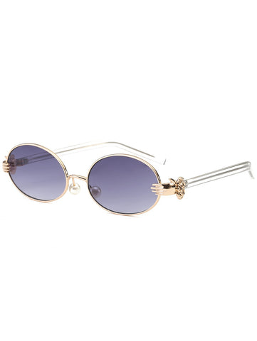 Chic Metal Hand Faux Pearl Nose Pad Oval Sunglasses