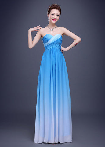 Chic Gradient Chiffon Sweetheart Neckline A-line Prom Dress