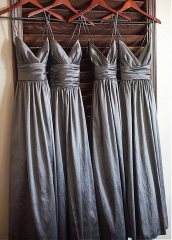 Elegant Taffeta Spaghetti Straps Neckline A-line Bridesmaid Dresses With Pleats