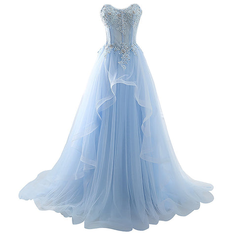 Ice Blue Lace Up Tulle Beaded Long Evening Prom Dresses