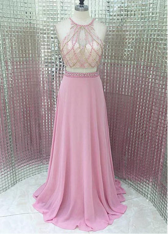 Attractive Chiffon & Tulle Halter Neckline A-line Two Piece Prom Dresses With Beadings