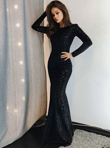 846aeca08d2 Mermaid Bateau Long Sleeves Black Sequined Evening Prom Dress