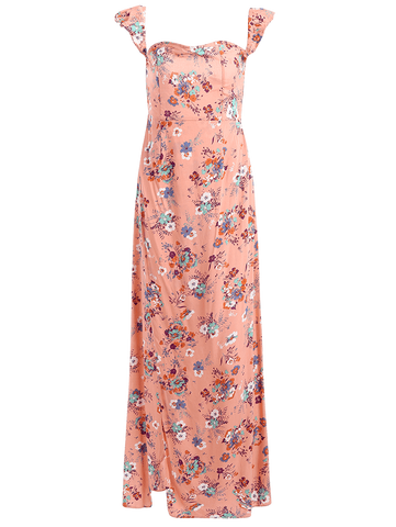 Pink Tiny Floral High Slit Ruffles Maxi Tube Dress
