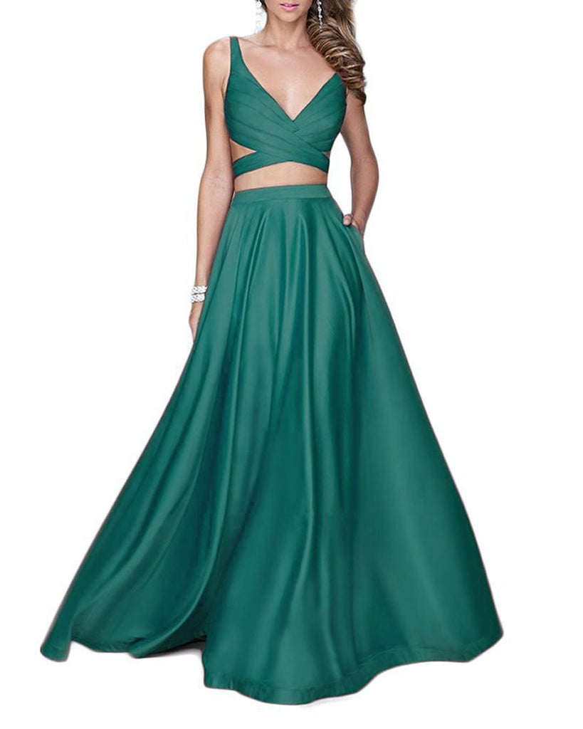 29fa6b16747 Long Two Pieces Prom Dresses Sexy Spaghetti Beaded Evening Gowns ...