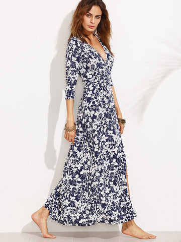 White Half Sleeve V-Neck Side Split Long Maxi Dress