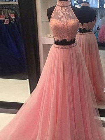 High Neck Tulle Lace Pink Two Piece Prom Dress