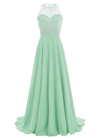 Women Long Chiffon Beadings Scoop Prom Party Dresses Evening Gown