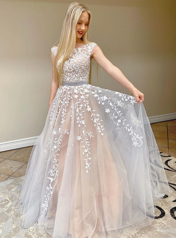 A-Line Champagne Tulle Appliques Backless Prom Dress