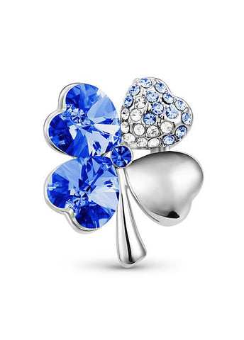 Four Leaf Clover Platinum Plated Brooch