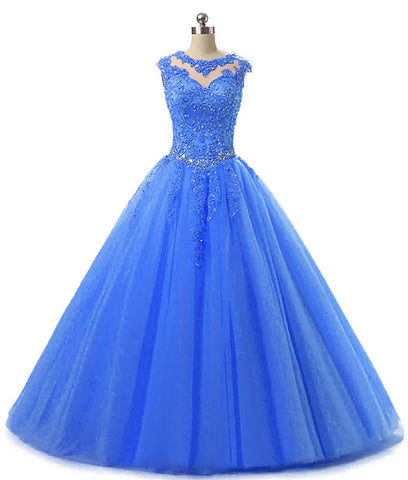 Lace Appliques Ball Gown Evening Prom Dress Beading Sequined Quinceanera Dresses Long