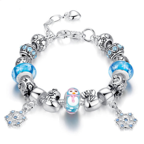 Cute Christmas Glass beads Snowflakes Bracelet