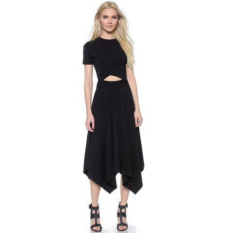 Asymmetrical Black Long Hollow Dress