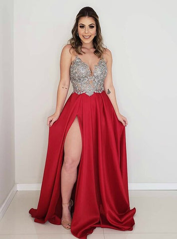 Red Satin Appliques Sexy Backless A-Line Prom Dress With Side Split