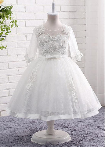 Chic Tulle & Lace Scoop Neckline 3/4 Length Sleeves Ball Gown Flower Girl Dresses With Beaded Lace Appliques