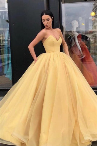 sweetheart Floor-Length Ball Gown Strapless Gold Prom Quinceanera Dress