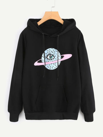 Black Eye Pocket Front Graphic Hoodie