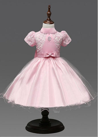 Chic Lace & Tulle High Collar Ball Gown Flower Girl Dresses With Bow