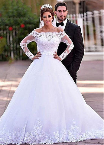 Off-the-shoulder Lace Long Sleeves Appliques A-line Wedding Dress